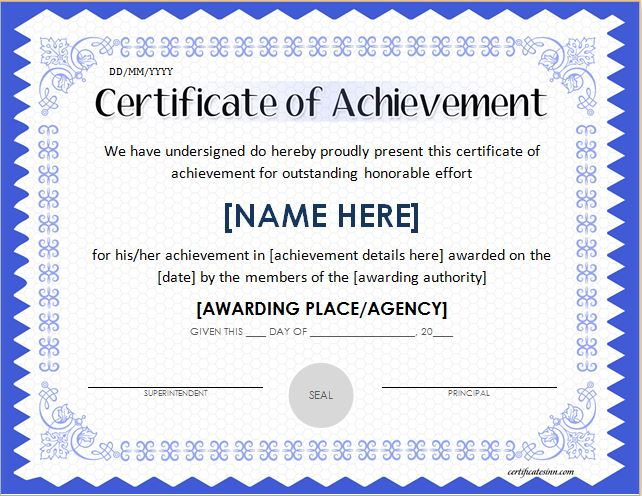 Word Certificate Of Achievement Template 2