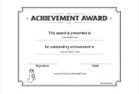 Word Template Certificate Of Achievement 0