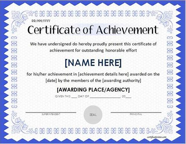 Word Template Certificate Of Achievement 2