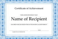 Word Template Certificate Of Achievement 8
