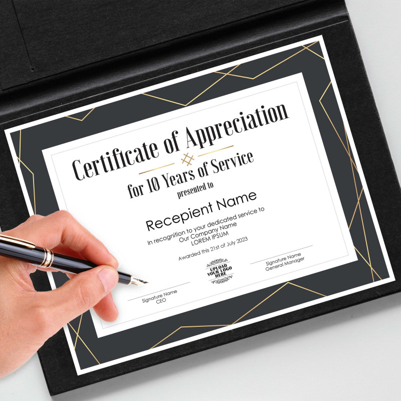 Academic Award Certificate Template New Editable 10 Years Of Service Certificate Of Appreciation
