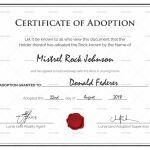 Adoption Certificate Template Unique Free Pet Adoption Certificate Template Word Pets Gallery