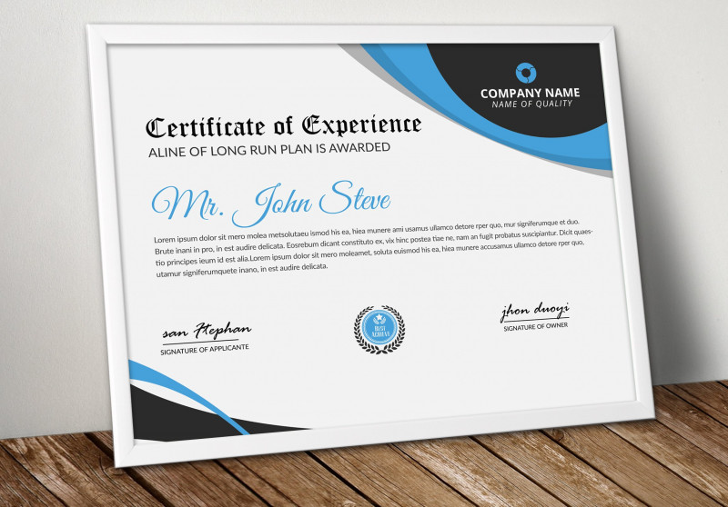 Award Of Excellence Certificate Template Awesome Company Word Certificate Template
