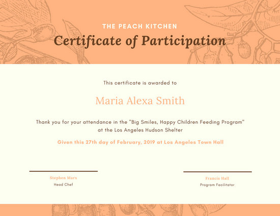 Canva Orange Illustrated Berries Certificate Of Participation MACPqYiFZec