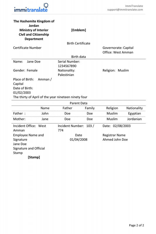 Certificate Of Ownership Template New the astonishing Birth Certificate Translation