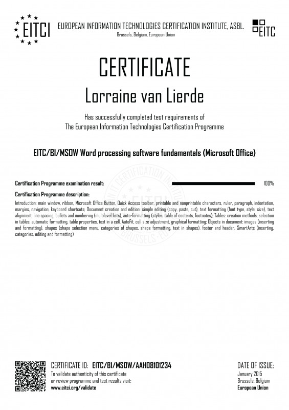 Certificate Of Recognition Word Template Awesome Eitc Bi Msow Word Processing software Fundamentals Microsoft Office