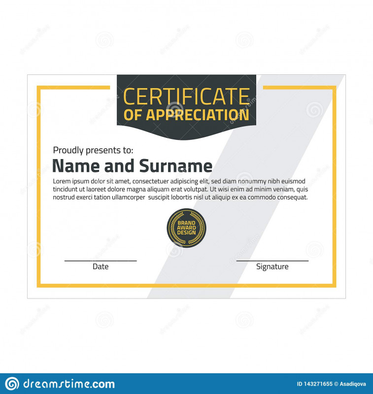 In Appreciation Certificate Templates Unique Vector Certificate Template Illustration Certificate In A4