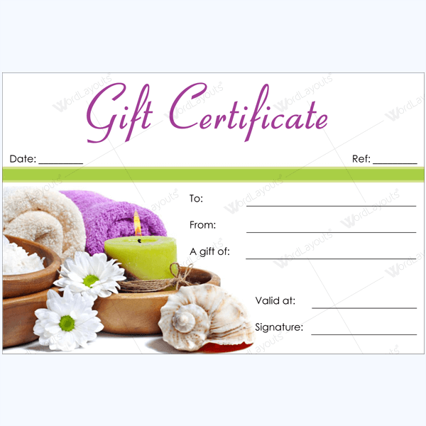 Printable Spa Gift Certificate