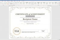 Sample Award Certificates Templates Awesome Create A Certificate Of Recognition In Microsoft Word