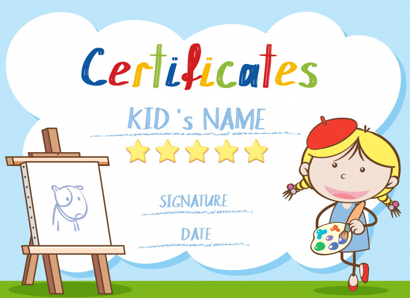 Star Certificate Templates Free Awesome Certificate Template With Girl Painting Download Free