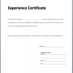 Certificate Of Experience Template