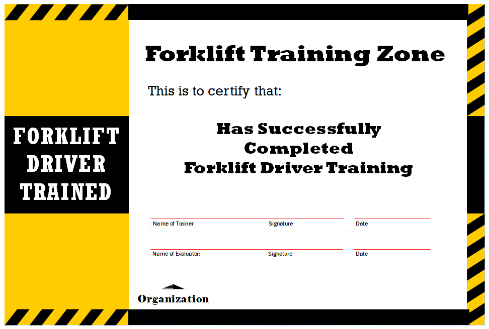 Forklift Certification Template