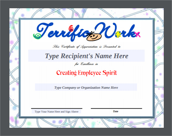 Free Certificate Of Appreciation Template Downloads 11