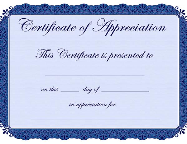 Free Certificate Of Appreciation Template Downloads 2