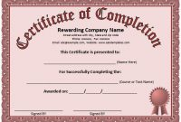 Free Certificate Of Completion Template Word 5