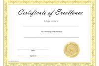 Free Certificate Of Excellence Template 4