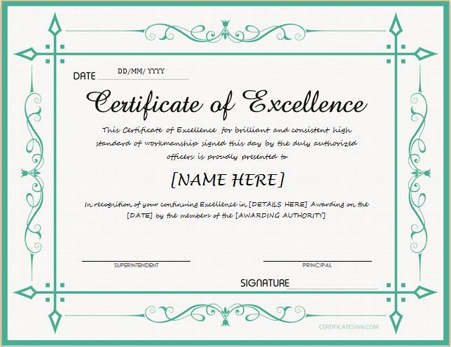 Free Certificate Of Excellence Template 7
