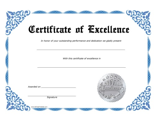 Free Certificate Of Excellence Template 9