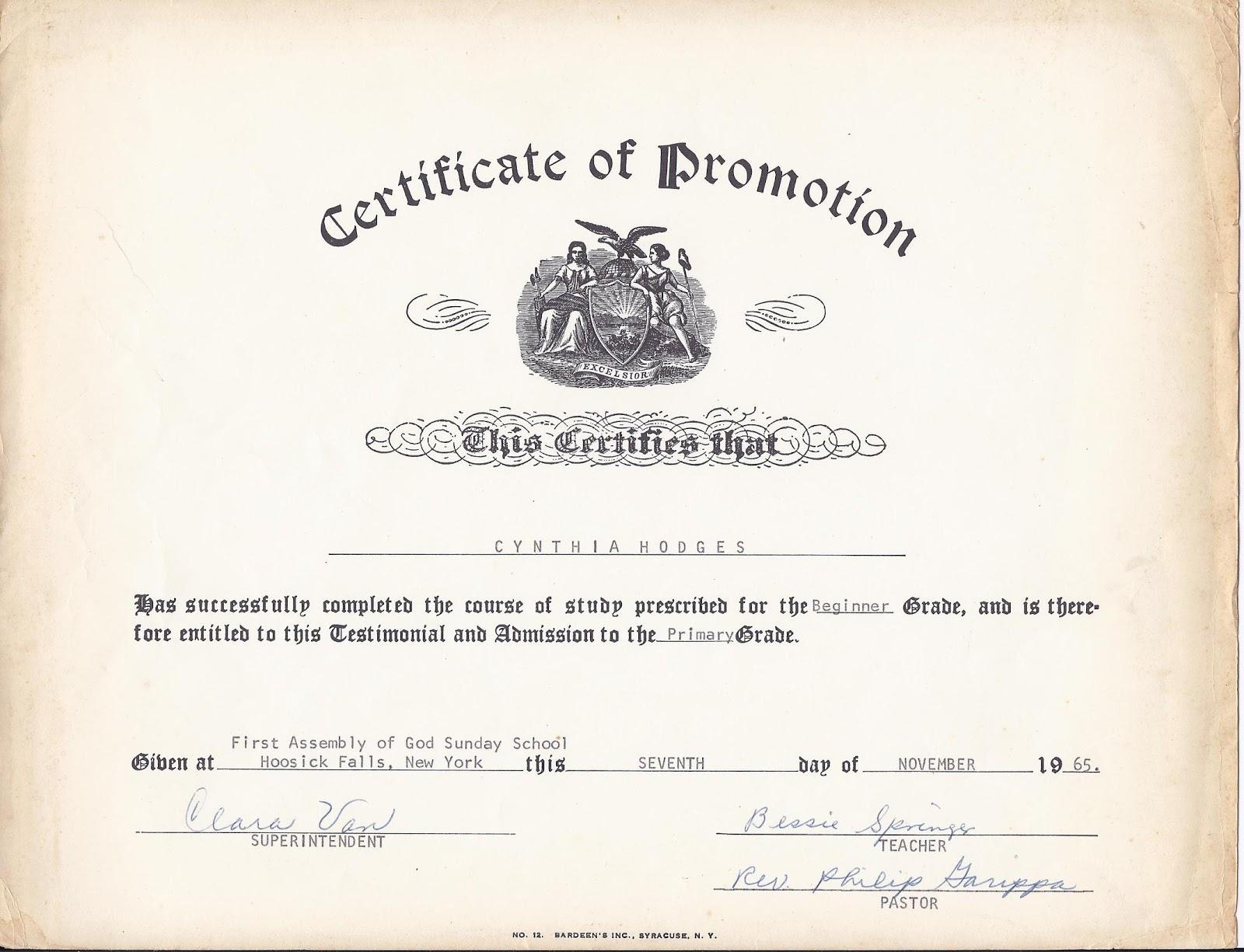 Promotion Certificate Template 0