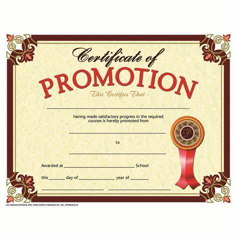 Promotion Certificate Template 3