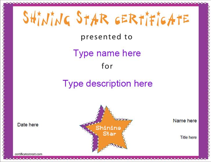 Star Award Certificate Template 5