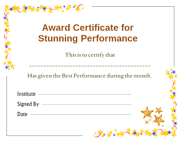Star Performer Certificate Templates 5
