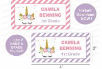 2 X 4 Label Template 10 Per Sheet Awesome Unicorn Name Labels Unicorn School Labels Printable School