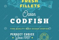 Adobe Illustrator Label Template New Fresh Fillets Premium Quality Label Abstract Vector Fish