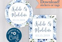 Baby Shower Label Template for Favors New Names Floral Wedding Tags or Stickers Favors for Engagement or Bridal Shower Edit and Print Kelly 308 005 Cj