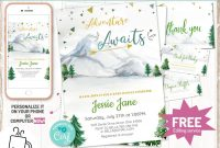 Baby Shower Label Template for Favors Unique Editable Mountain Baby Shower Invitation Set Instant