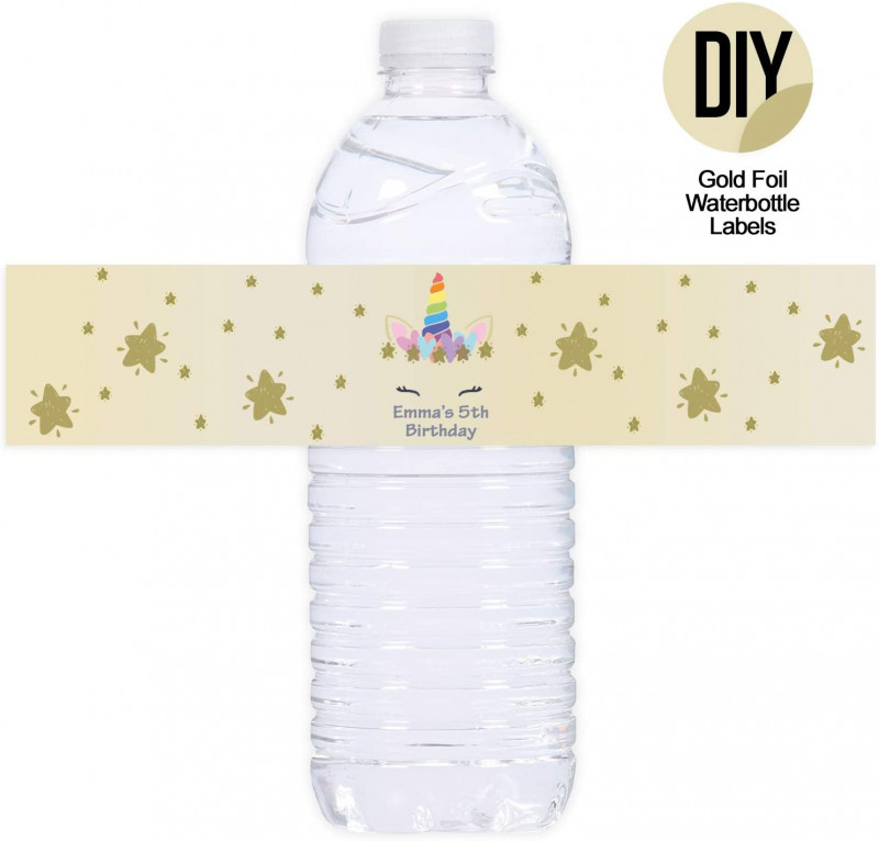Baby Shower Water Bottle Labels Template Unique Milcoast Gold Foil Glossy Waterproof Tear Resistant Diy 8 5 X 2 Water Bottle Labels For Inkjet Laser Printers 100 Labels 20 Sheets