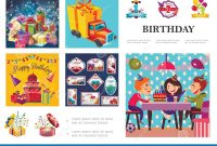 Birthday Labels Template Free Awesome Birthday Party Composition Stock Vector Illustration Of