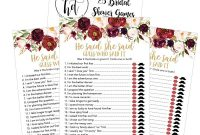 Blank Bridal Shower Bingo Template Awesome 25 Floral Wedding Bridal Shower Engagement Bachelorette Anniversary Party Game Ideas Gold He Said She Said Cards for Couples Funny Co Ed Trivia