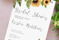 Blank Bridal Shower Invitations Templates Unique Download Printable Sunflower Bridal Shower Invitation Pdf