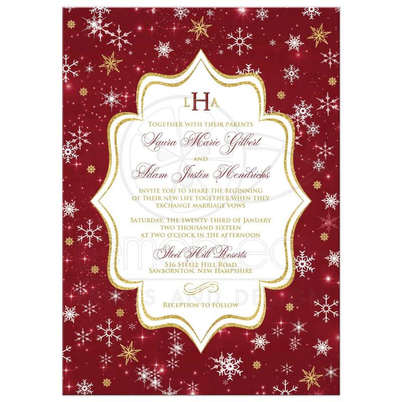 Blank Bridal Shower Invitations Templates Unique Monogrammed Wedding Invitation Cranberry Gold White Snowflakes Stars