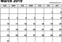 Blank Calander Template Awesome March 2019 Calendar Pdf Printable Template Calendar