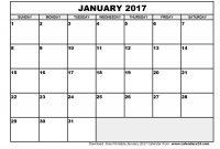 Blank Calander Template Unique Printable January 2017 Calendar Blank Monthly Calendar