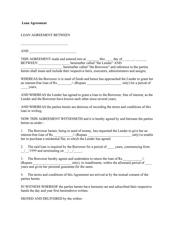 Blank Loan Agreement Template Unique 40 Free Loan Agreement Templates Word Pdf A… Templatelab