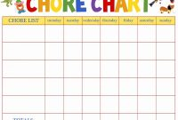 Blank Reward Chart Template Unique toddler Chore Chart Template New Free Printable Daily Weekly