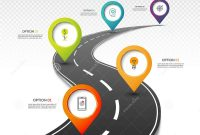 Blank Road Map Template Awesome Road Map Timeline Infographic Template with 5 Colorful Pin