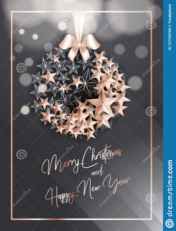 Blank Snowflake Template New Christmas Poster or Card Template with Star Ball Stock