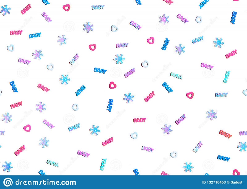 Blank Snowflake Template Unique Seamless Winter Baby Shower Party Background Stock