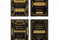 Book Label Template Free Awesome Art Deco Poster Design Template Collections Stock Vector
