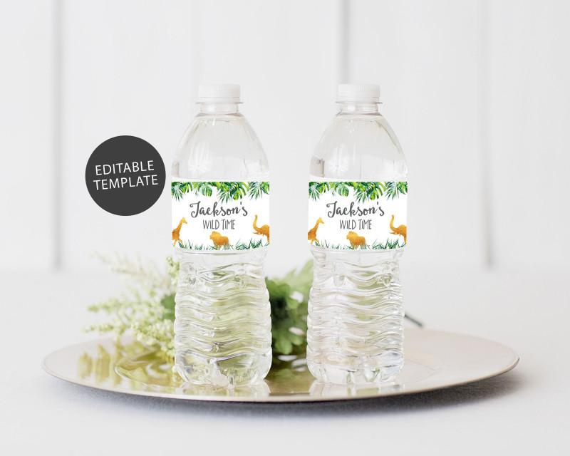 Canning Jar Labels Template New Safari Water Bottle Label Template Editable Water Bottle