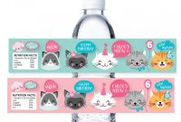 Drink Bottle Label Template Awesome Cat Water Bottle Label Customized Printable Diy Water Label