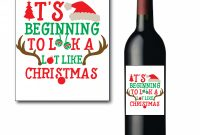 Drink Bottle Label Template New Red and Green Holiday Wine Bottle Label Digital File