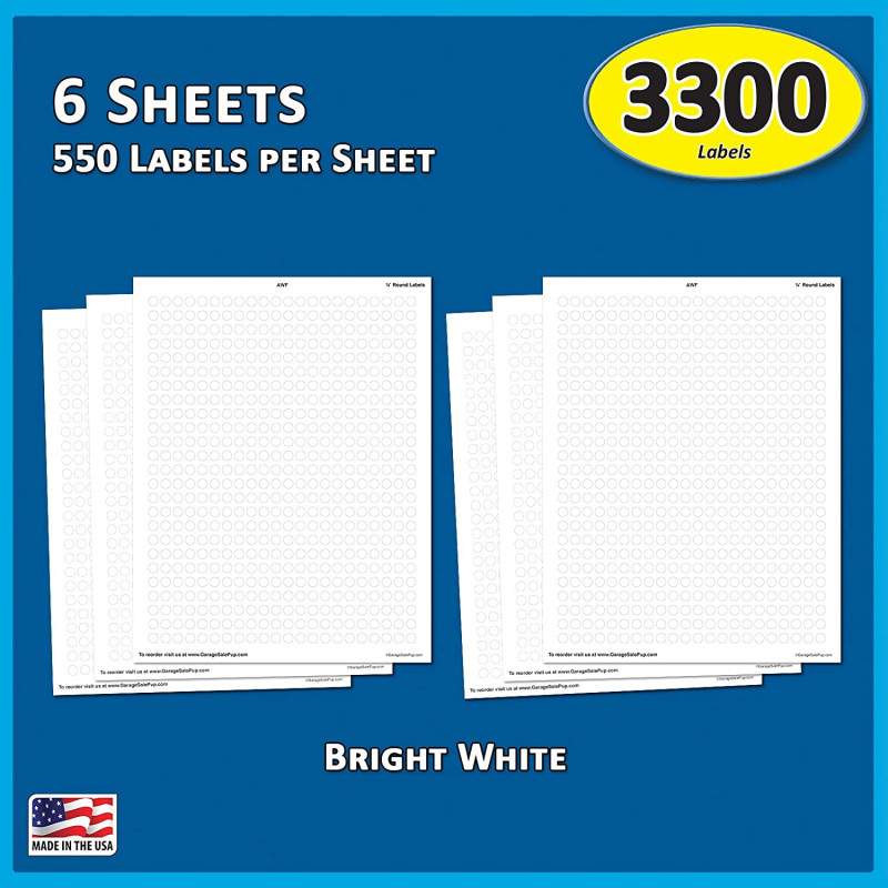 File Cabinet Label Template New Garage Sale Pup Pack Of 3300 1 4 Round White Color Coding