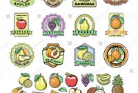 Food Product Labels Template Awesome Fruit Badge Templates Labels Sample Text Stock Vector