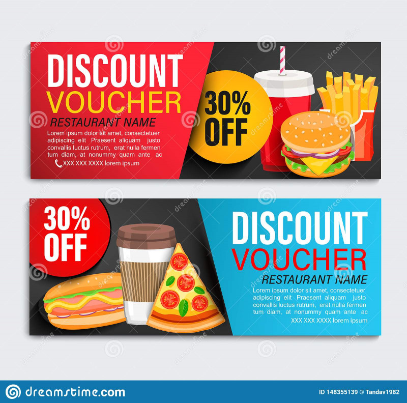 Food Product Labels Template New Set Od Discount Gift Vouchers Stock Vector Illustration