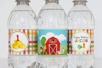 Free Printable Water Bottle Label Template Awesome Farm Birthday Water Bottle Labels Farm Animal Water Bottle Labels Farm First Birthday Barnyard Birthday Party Farm theme